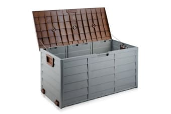 290L Plastic Outdoor Storage Box Container Weatherproof (Brown/Grey)