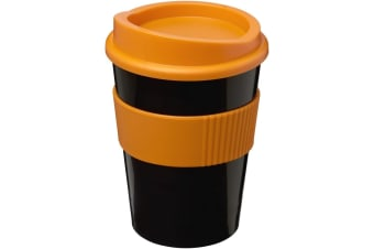 Americano Medio 300ml Tumbler With Grip (Solid Black/Orange)