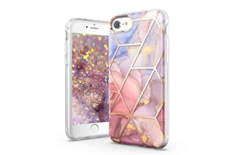 TITSHARK Marble Pattern Shockproof Tough High-quality stylish Case Cover For iPhone 6/7/8-Purple