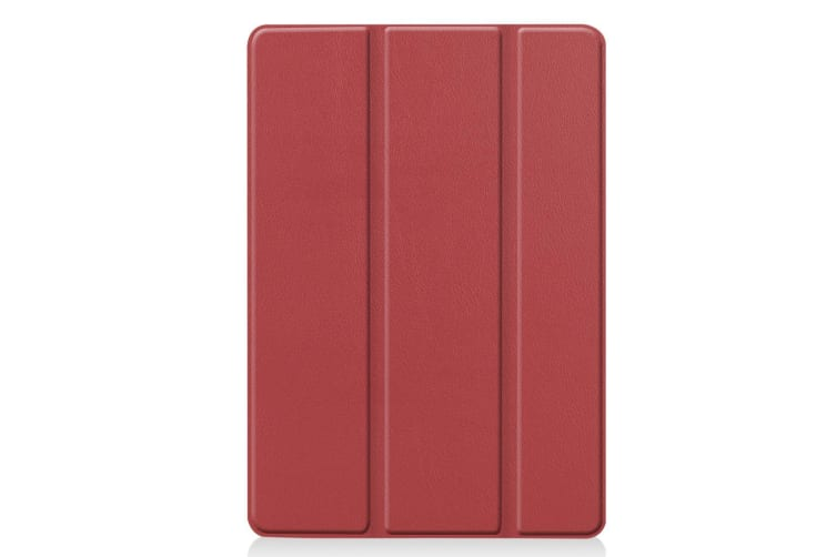 For iPad 10.2 Custer Texture Horizontal Flip Smart PU Leather Case   Smart Flip Cover Wine Red