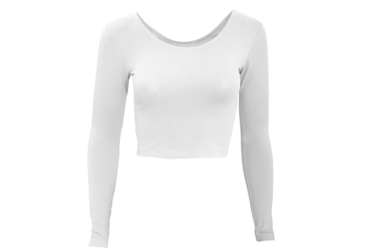 American Apparel Womens/Ladies Plain Long Sleeve Cropped T-Shirt (White) (L)