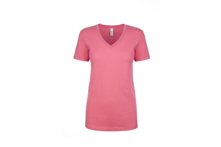 Next Level Womens/Ladies Ideal V-Neck T-Shirt (Hot Pink) (S)