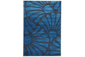 Damask Modern Fern Rug Blue Charcoal