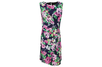 Womens/Ladies Sleeveless Rose Print Summer Dress With Round Neckline (Navy/ Pink)