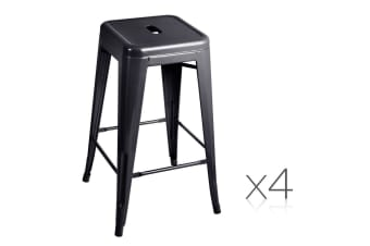 Set of 4 Replica Tolix Kitchen Bar Stool 66cm (Black)