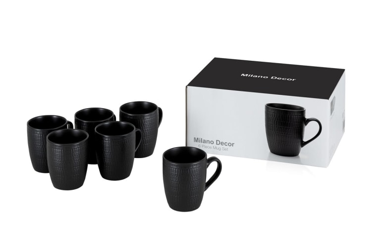 Milano Decor Stoneware 6 Pcs Mug Set  -Black