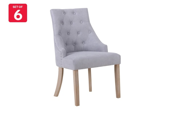 Shangri-La Set of 6 French Provincial Allete Dining Chairs (Ash Grey)