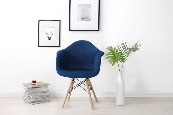 Shangri-La Set of 4 Eiffel DAW Fabric Dining Armchairs - Eames Replica (Dark Blue)
