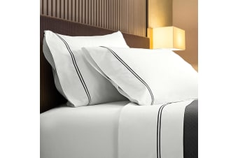 Renee Taylor 1000TC Sorrento Sheet Set Cotton Soft Touch Hotel Quality Bedding - Queen - White