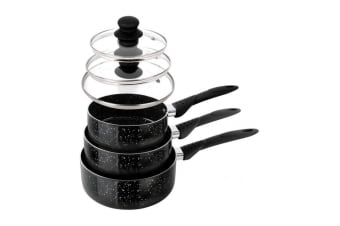 StoneChef 6 Piece Marble Ceramic Pots Set (Black)