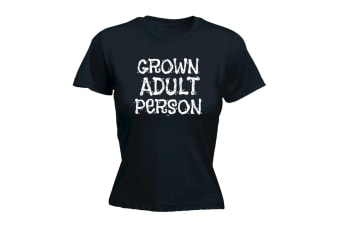 123T Funny Tee - Grown Adult Person - (Medium Black Womens T Shirt)