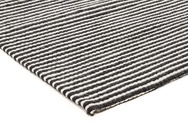 Oskar Felted Wool Striped Rug Black White 280x190cm