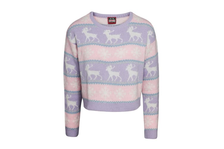 Christmas Shop Womens/Ladies Boxy Nordic Jumper (Pink/Purple) (M)