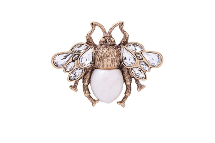 Inlay Rhinestone Simulated Pearl Bee Brooch White