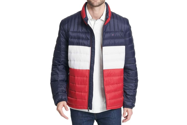 Tommy Hilfiger Men's Ultra Loft Packable Down Jacket (Midnight/White/Red, Size XL)