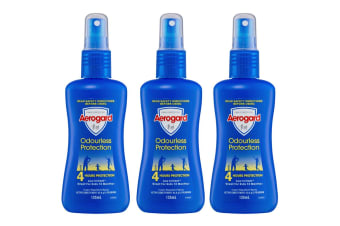 3x Aerogard 135ml Odourless Adult/Kids Insect Repellant Spray Pump 4h Protection