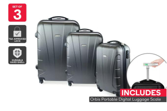 Orbis 3 Piece Hardside Spinner Luggage Set (Charcoal) with Digital Luggage Scale