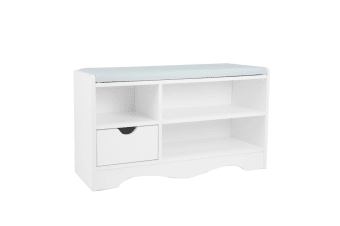 Shoe Rack Cabinet Organiser Grey Cushion - 80 x 30 x 45 - White