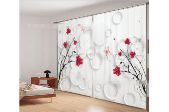 3D Flowers And Rings 2220 Curtains Drapes, 264cmx160cm(WxH) 104''x 63''