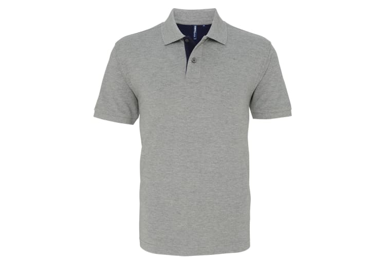 Asquith & Fox Mens Classic Fit Contrast Polo Shirt (Heather/ Navy) (XL)