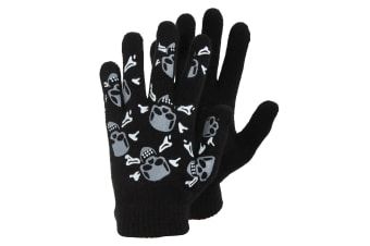 Boys Black Winter Magic Gloves With Rubber Print (Design 6) (One Size)