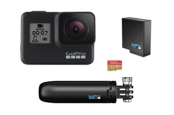 GoPro Hero7 Black Bundle with 32GB SD Card, Extra Battery, Shorty Mount (GPCHDHX-701)