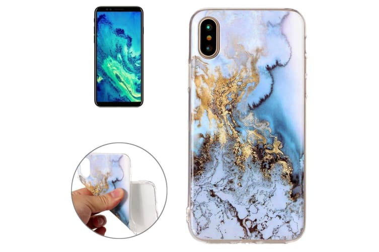 For iPhone XS X Back Case  Marble High-Quality Durable Protective Cover Blue