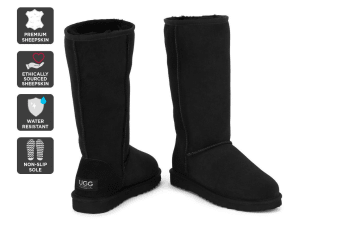 Outback Ugg Boots Long Classic - Premium Sheepskin (Black, 10M / 11W US)