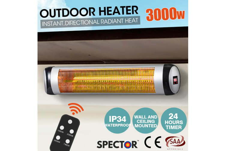 Spector 3000W Electric Infrared Patio Heater Radiant Strip Indoor Outdoor Remote