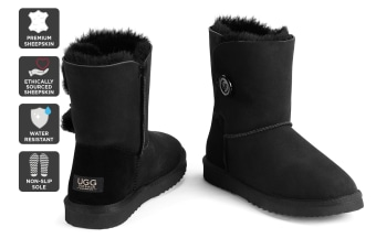 Outback Ugg Boots Short Button - Premium Sheepskin (Black, 7M / 8W US)