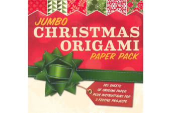 Jumbo Christmas Origami Paper Pack - 285 Sheets of Origami Paper Plus Instructions for 3 Festive Projects