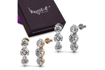 Boxed 2 Pairs Long Journey Drop Earrings Set Embellished with Swarovski crystals