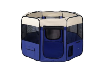 i.Pet Pet Soft Playpen Dog Puppy Cat Play Crate Cage Tent Winter Portable Blue