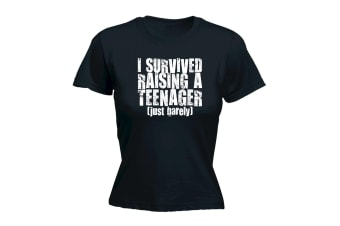 123T Funny Tee - I Survived Raising A Teenager - (XX-Large Black Womens T Shirt)