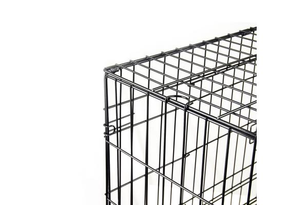 Foldable Metal Wire Dog Cage w/ Cover - PINK 24""