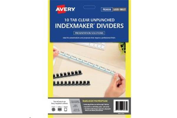 AVERY Divider 10 Tab Unpunched Translucent with Labels A4