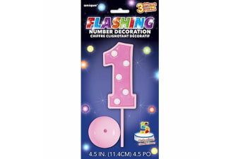 Unique Party Flashing Number Birthday Decoration (Pink) (One Size)