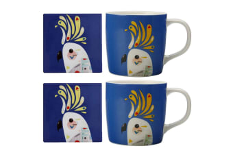 4pc Maxwell & Williams Pete Cromer Cockatoo 375ml Mug 9.5cm Coaster Drink Coffee