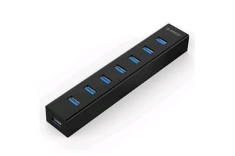 Orico 7 Port USB 3.0 HUB with Data Cable and Power Adapter (H7013-U3) BLACK