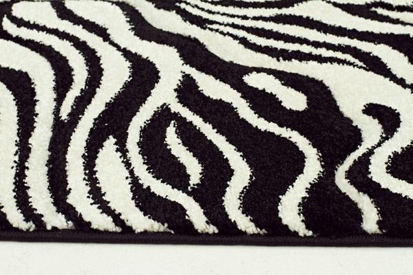 Stunning Zebra Pattern Rug Black Off White 230x160cm