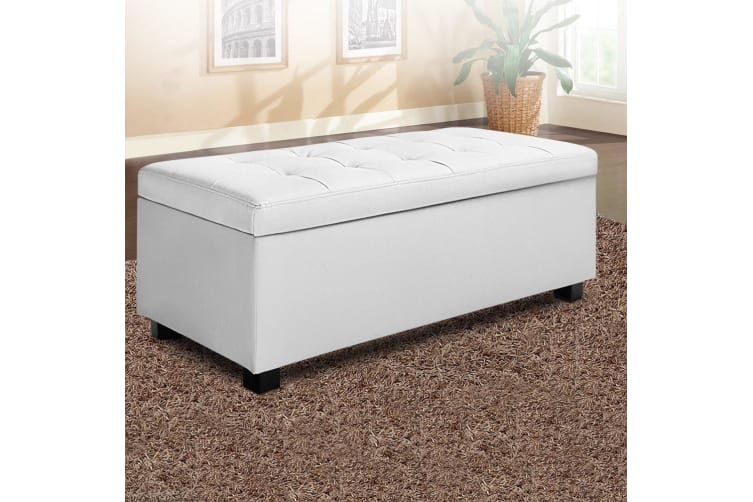 Artiss Blanket Box Storage Ottoman PU Leather Foot Stool Chest Toy Bed Large WH