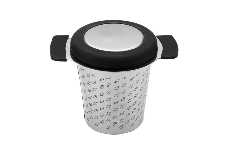 New Teaology Stainless Steel Micromesh Tea Mug Infuser With Lid Black