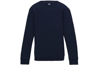 AWDis Just Hoods Childrens/Kids Plain Crew Neck Sweatshirt (New French Navy) (5-6 Years)