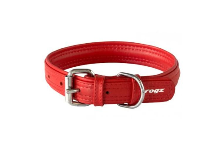 Rogz Leather Buckle Collar Red - XS