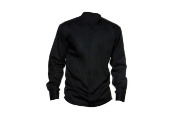 Bargear® Mens Long Sleeved Mandarin Collar Bar Shirt / Mens Shirts (Black)