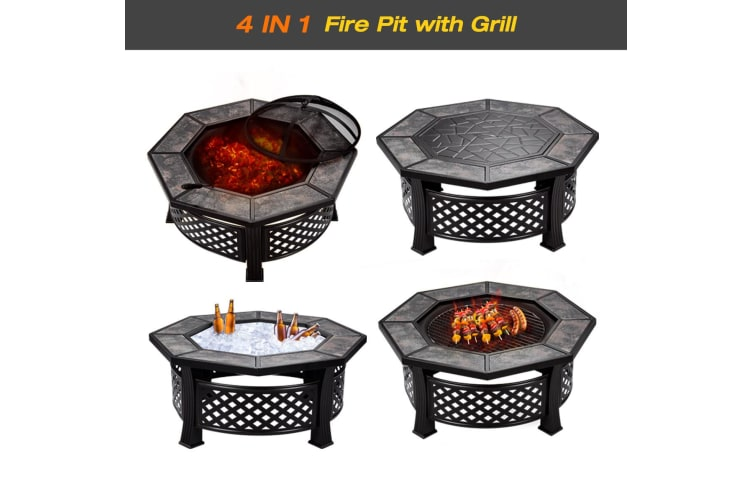 Outdoor Patio Camping Fire Pit w/ Grill