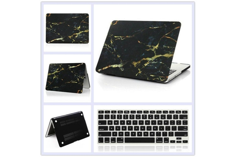 """Marble Frosted Matte Hard Case with Free Keyboard Cover for MacBook Pro 13"""" 2016-2018 A1708(no Touch Bar)-Black Marble"""