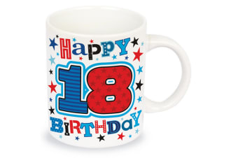 Simon Elvin Happy 18th Birthday Male Age Milestone Mug (White/Multicoloured)