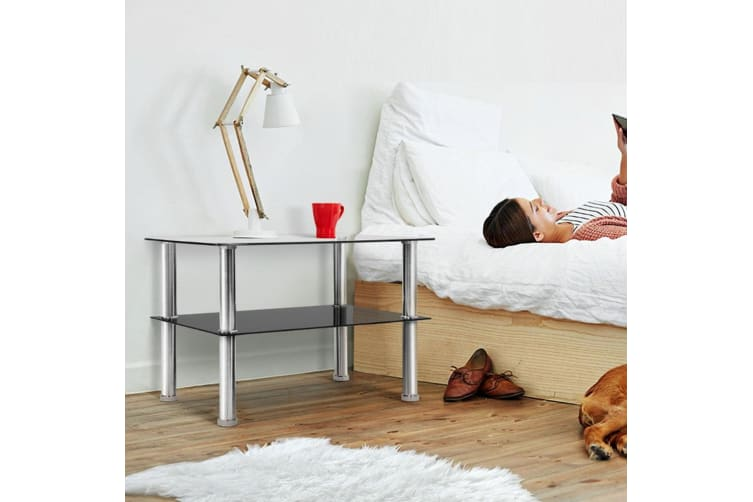 Artiss Coffee Table Side Tables Tempered Glass Stainless Steel Home Bedside