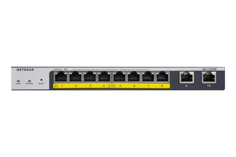 Netgear GS110TPP 8-Port Gigabit PoE+ Ethernet Smart Managed Pro Switch (GS110TPP)
